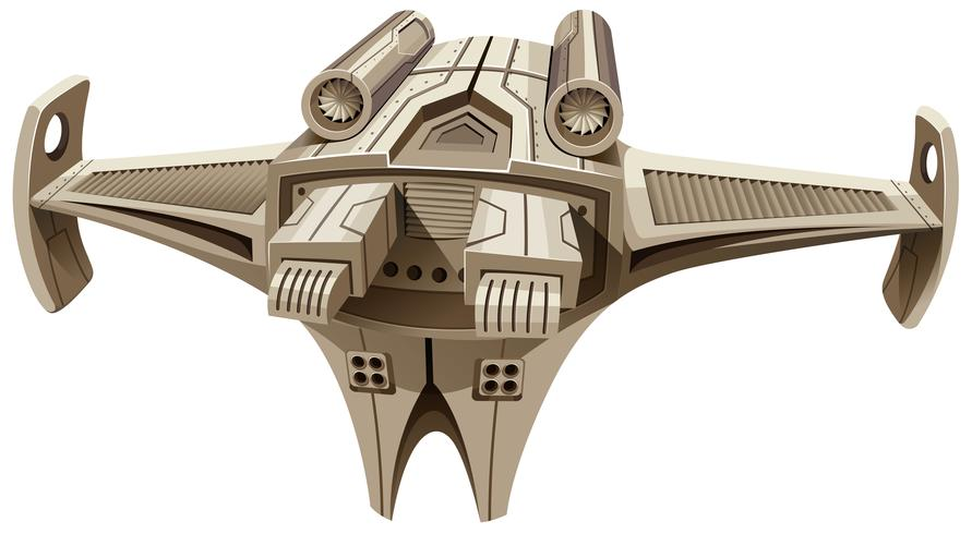Modern ruimteschip met vleugels vector
