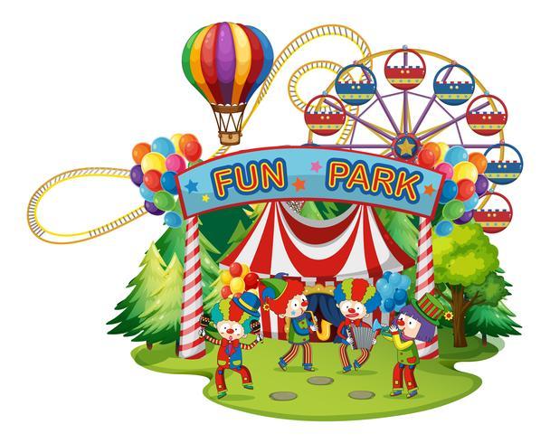 Gelukkige clowns in het funpark vector