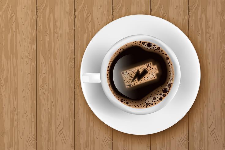 Kopje koffie met batterij energie op schuim vector