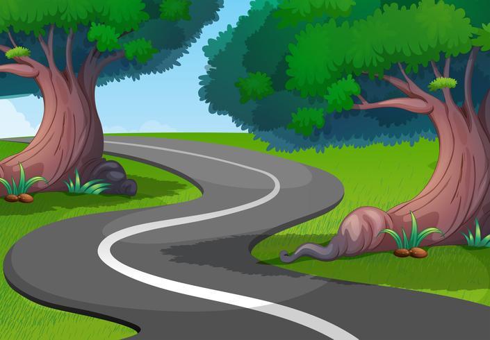 Groen park met lege weg vector