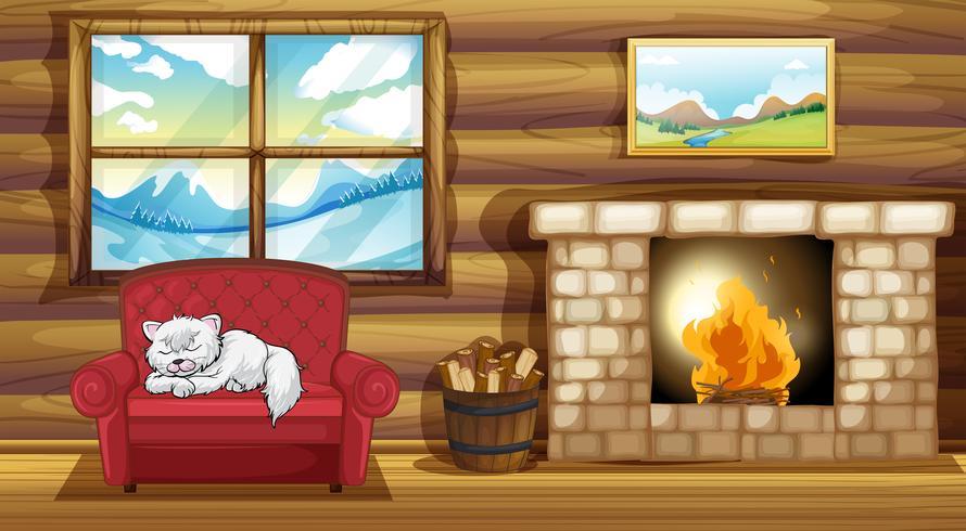 Een kat die op de bank bij de open haard slaapt vector