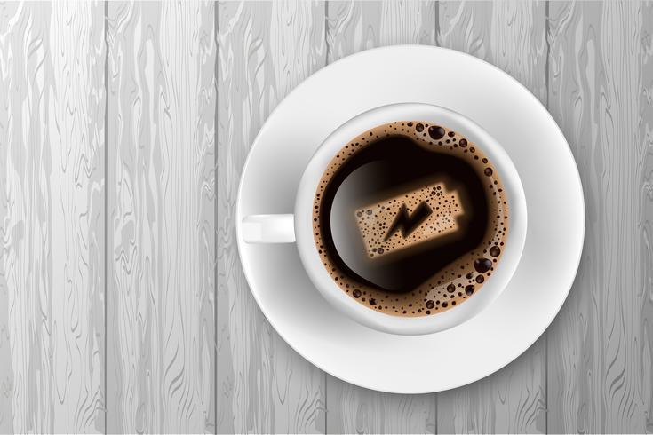 Kopje koffie met batterij energie op schuim. Realistische vectorillustratie vector