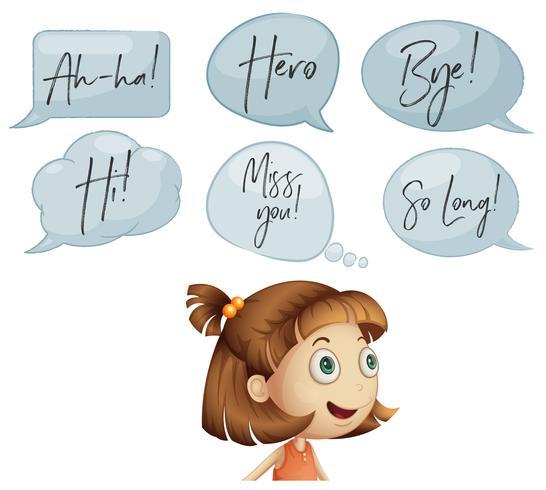 Meisje met verschillende tekstballonnen vector