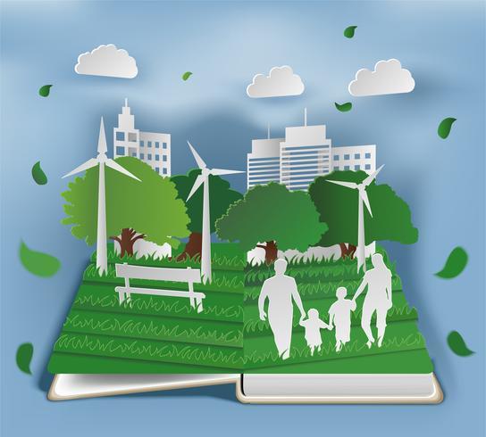 Boek met eco-compositie in papieren kunststijl vector