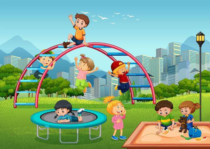 Gelukkige kinderen in de speeltuin vector