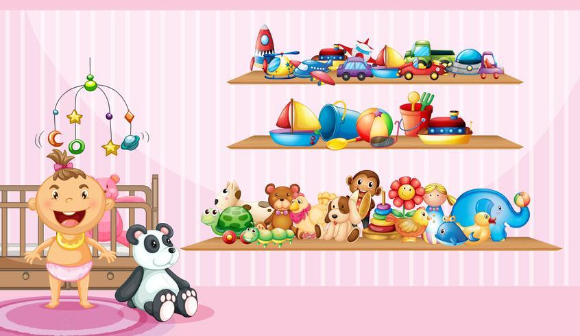 Babymeisje en veel speelgoed in slaapkamer vector