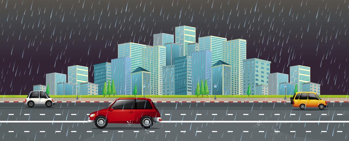 Stadsscène in de regen bij nacht vector