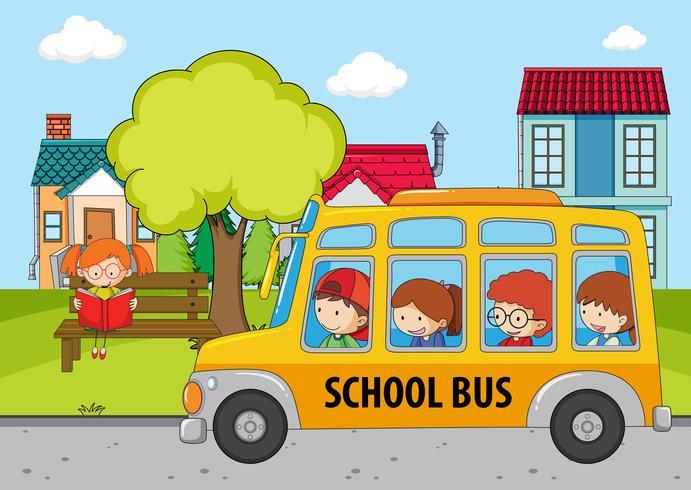 Kinderen in de schoolbus vector