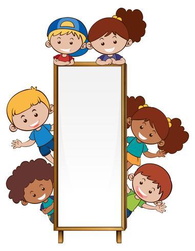 Grensmalplaatje met veel kinderen vector