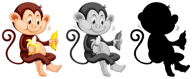 Set van aap eten banaan vector