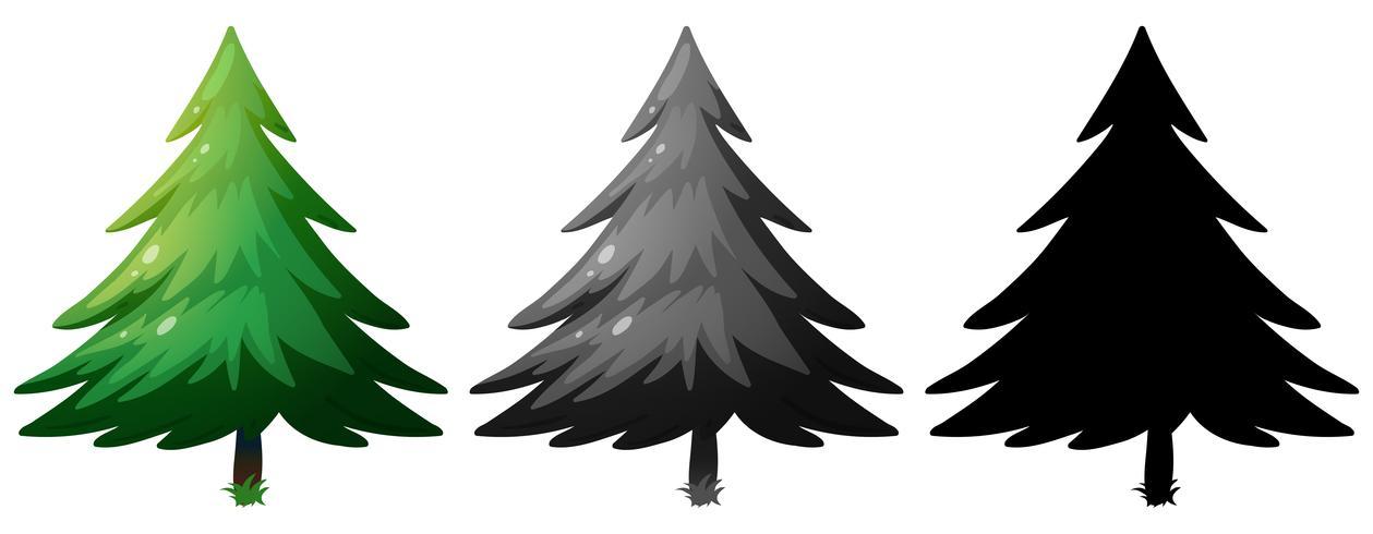 Set van dennenboom vector