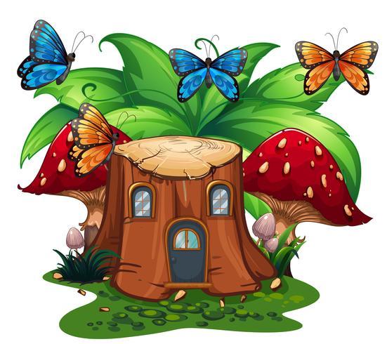 Vlinders vliegen rond houten huis vector
