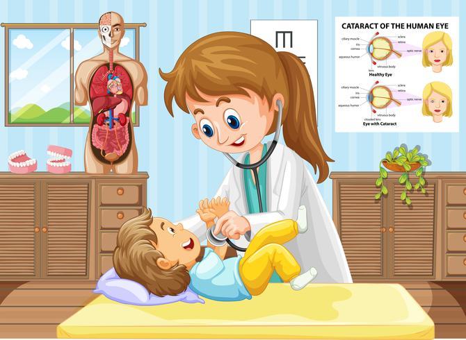 Arts die de kleine jongen controleert bij kliniek vector