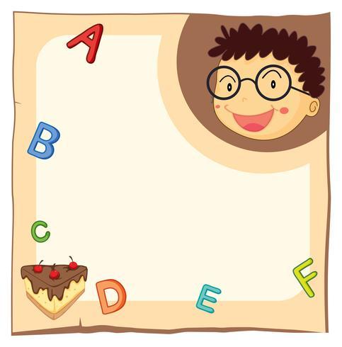 Papiersjabloon met jongen en alfabetten vector