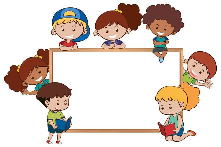 Whiteboard en gelukkige kinderen eromheen vector