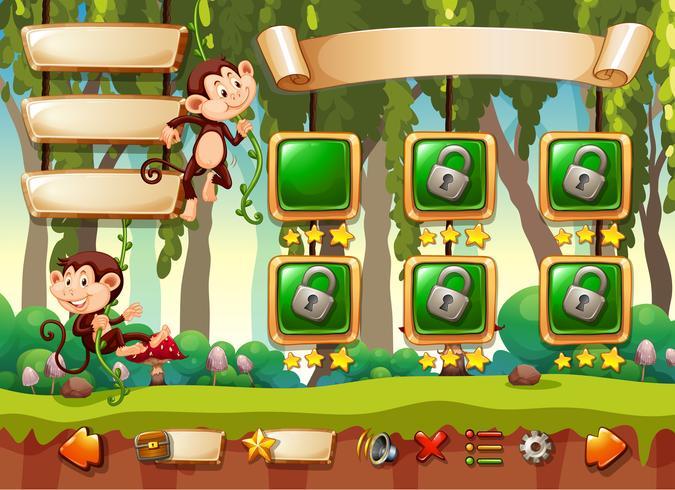 Jungle monkey-spelmalplaatje vector