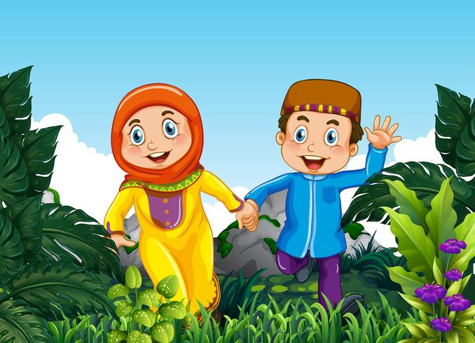 Moslimpaar in het bos vector