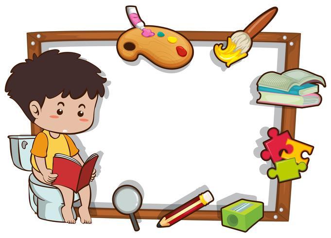 Grensmalplaatje met het boek van de jongenslezing vector