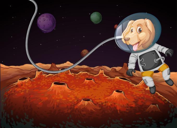 Een hondenastronaut in de ruimte vector