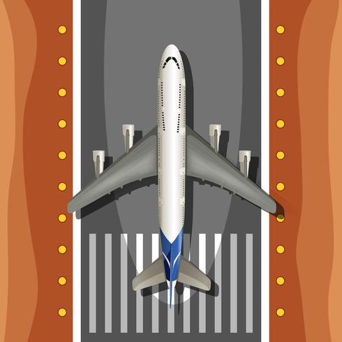 Een vliegtuig op de startbaan vector