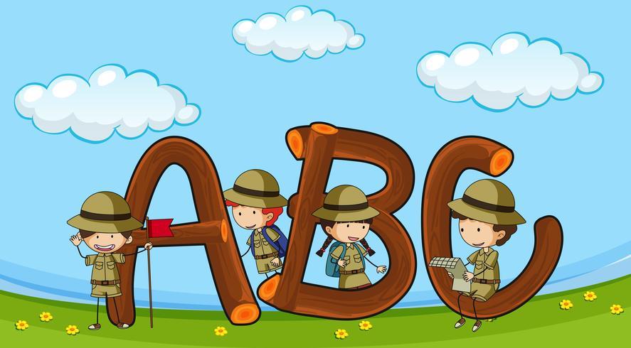 Lettertype ABC met kinderen in uniform met jongenskledij vector