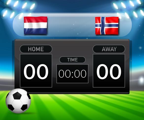 Nederland vs Noorwegen voetbalscorebord vector