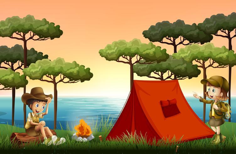 Kinderen kamperen in de natuur vector