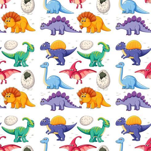 Een dinosaurus op naadloos patroon vector