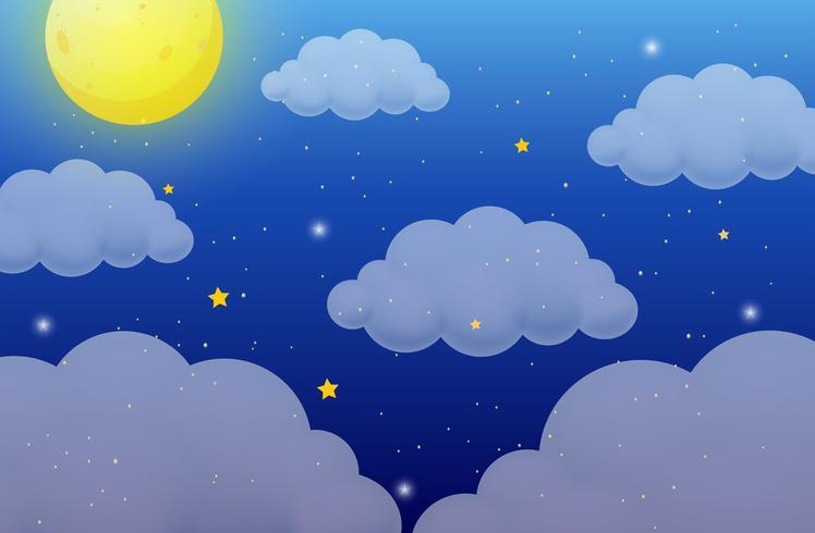 Aardachtergrond met maan en sterren vector