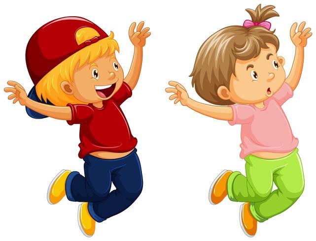 Weinig jongen en meisje die omhoog springen vector