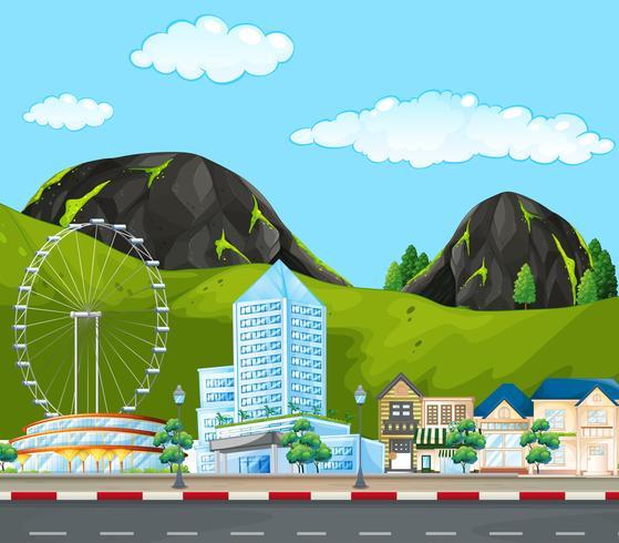 Een moderne stad achter berg vector