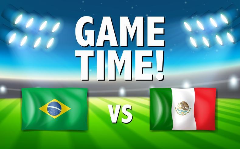 Een wedstrijdtijd Brazilië versus Mexico-sjabloon vector