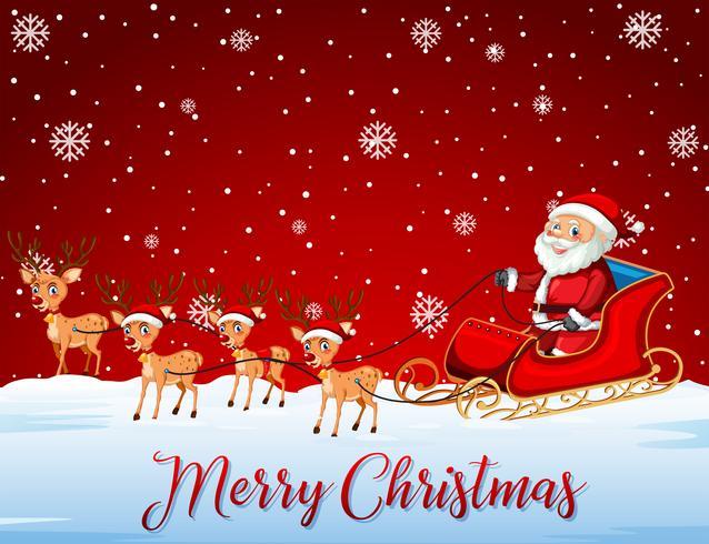 Santa rijdt slee op rode sjabloon vector