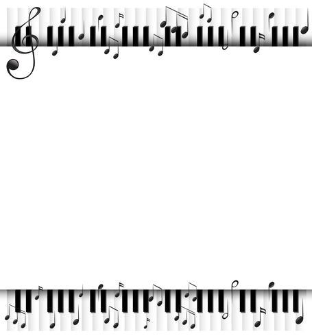 Achtergrondsjabloon met muzieknoten en piano vector