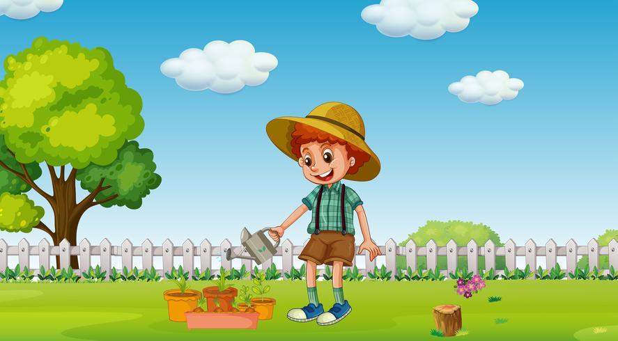 Een jongen met waterplanten in de tuin vector