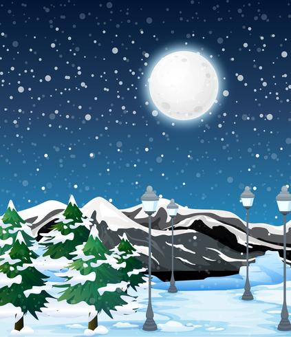 Winter buiten nacht landschap vector