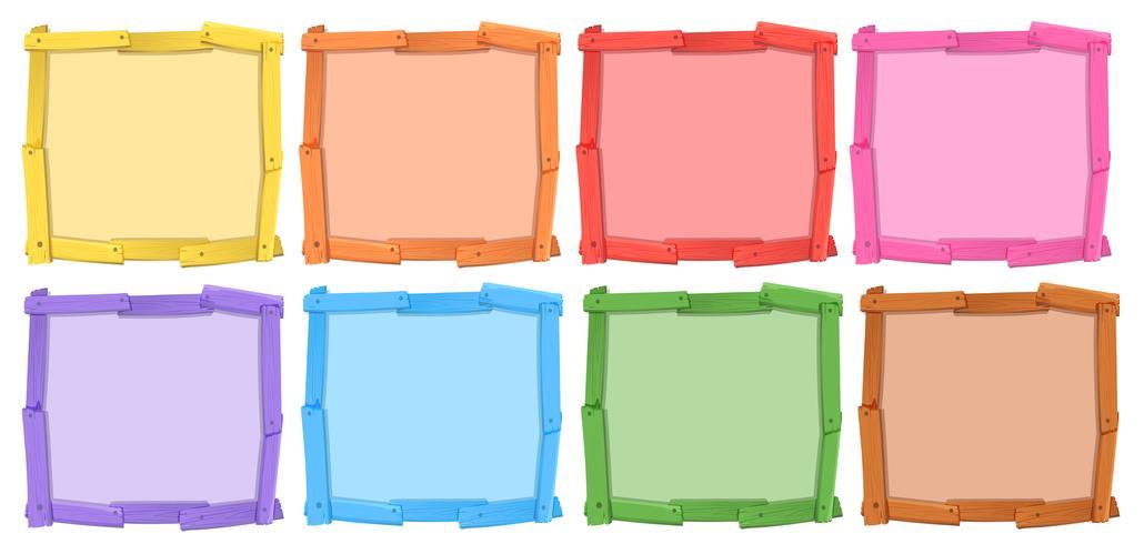 Een reeks verschillende kleuren van houten frame vector