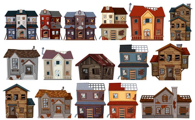Oude huizen in verschillende uitvoeringen vector