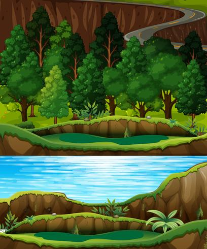 Een groen bos- en rivierlandschap vector