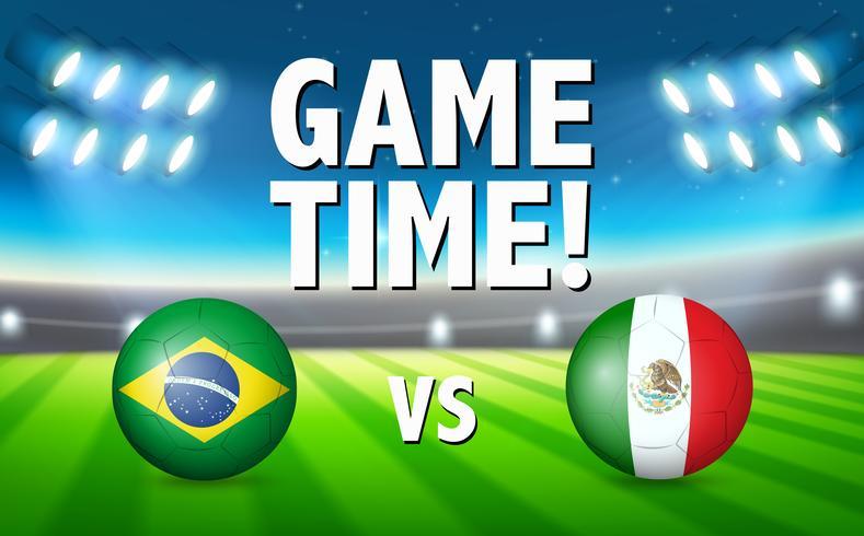 Brazilië VS voetbalwedstrijd tussen Mexico vector