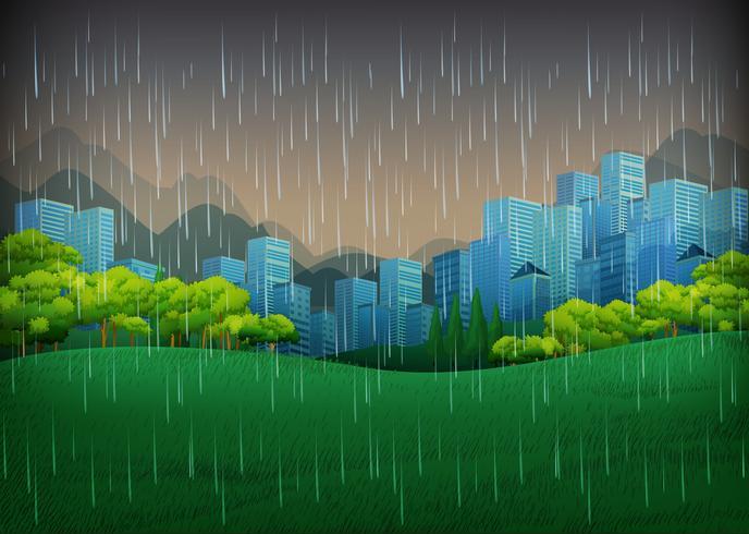 Aardscène met regenachtige dag in stad vector