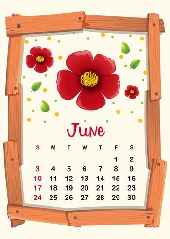 Kalendersjabloon voor juni met rode bloem vector