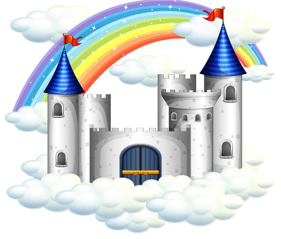 Een regenboog over mooi kasteel vector