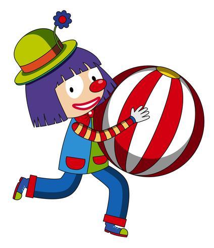 Gelukkige clown met beachball vector