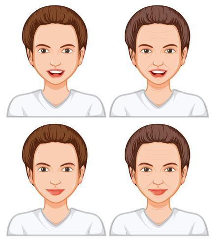 Vrouwelijke gezichtsuitdrukking veroudering vector