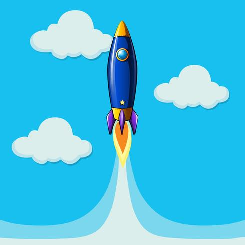 Raketvliegtuig die in blauwe hemel vliegen vector