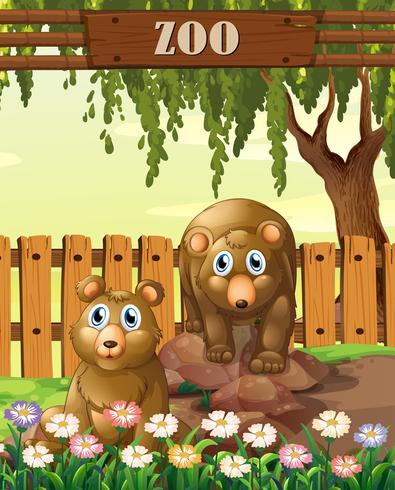 Beren in de dierentuinmalplaatje vector