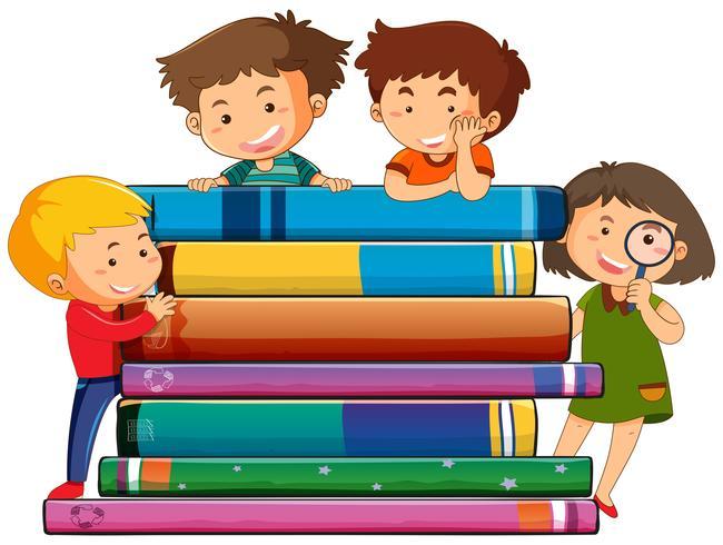 Kinderen met het boek vector