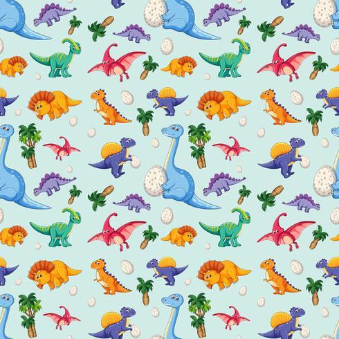 Dinosaurus op naadloos patroon vector