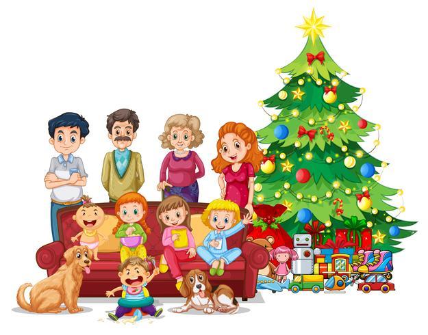 Familie voor kerstboom vector
